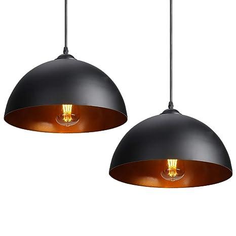 CCLIFE 2 Unidades Vintage Lámpara de techo Lámpara colgante Lámpara vintage lampara industrial Casquillo E27 para bombilla Ø300mm, Color:Negro
