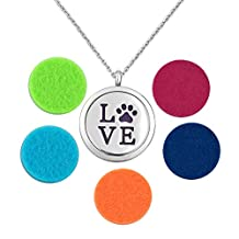 Charmed Craft Love Pet Dog Paw Essential Oil Diffuser Aromatherapy Necklace Stainless Steel Locket Pendant Necklace