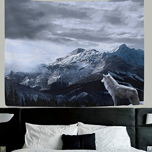 WellLee Wolf wall decor Lone Wolf Fabric Tapestry Throw Dorm bedroom Art Home Decor Tapestry Wall Hanging 60x51 (Wolf Art Wall Decor)