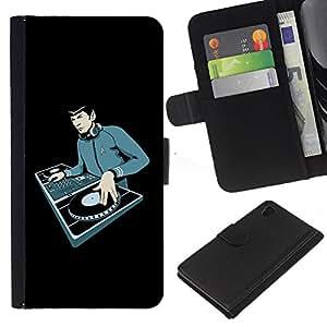 A-type (Espacio Chico Dj) Colorida Impresión Funda Cuero Monedero Caja Bolsa Cubierta Caja Piel Card Slots Para Sony Xperia Z4v / Sony Xperia Z4 / E6508