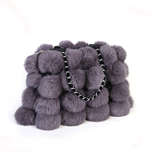 (Metrekey Womens Fur Ball Purse Real Rabbit Fur Pompom Chain Handbags)