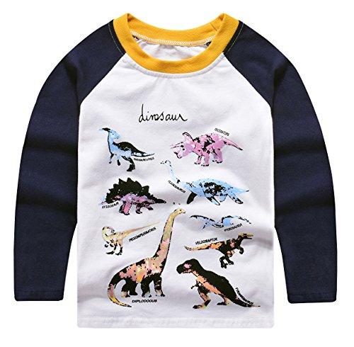 Seven Young Toddler Boys T-Rex Long Sleeve Dinosaur T Shirt 2-10 Years