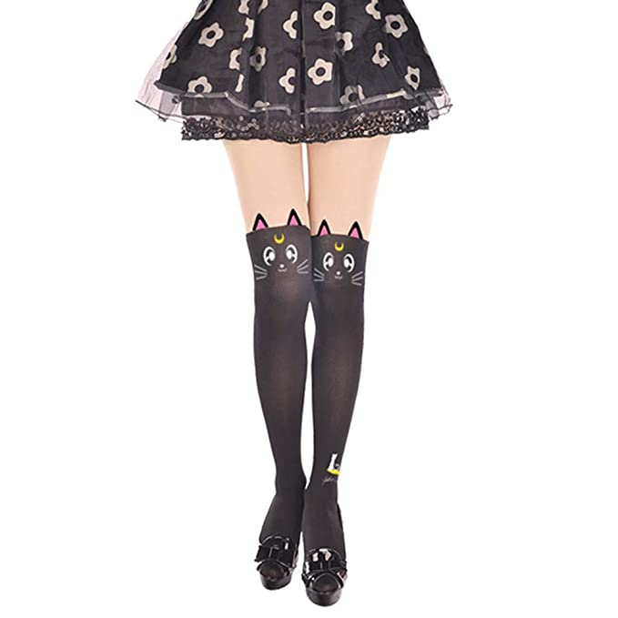 9a0ae4181 MIUNIKO Women's Cute Anime Sailor Moon Luna Cat Printing Legging Tights  Socks Cosplay Costume Pantyhose (