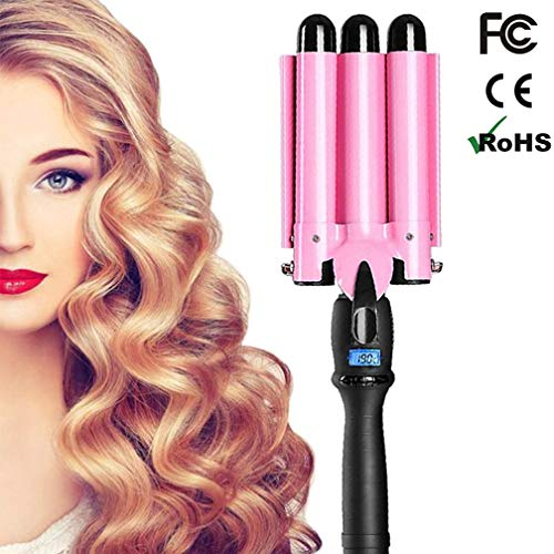 Hair Curling Iron 3 Barrel 1 Inch for Long Hair Professional Curling Wand With LCD Temperature Display Heat Curlers Tourmaline Curling Iron Hair Waver Hot Tools
