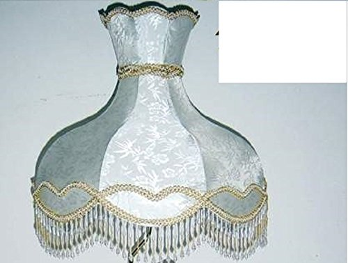 18'' Scallop Shaped Lamp Shade, Silk with Beads & Fringes by Imperial Gift Co