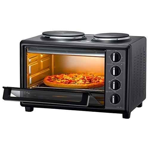 28 Liter Backofen mit Doppel-Kochfeld Mini Melissa Ofen mit 2 Kochplatten 1500 Watt Ofentür aus Glas Ober- und Unterhitze