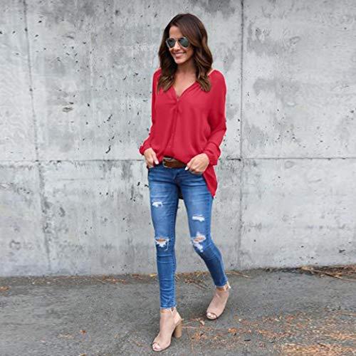 Soie lgant Chemisier Shirt Simple Rond Longue T en Manche Vetement Col Haut Mousseline de Rouge Chiffon 6Bx6T