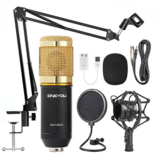 (ZINGYOU Condenser Microphone Bundle, BM-800 Mic Kit with Adjustable Mic Suspension Scissor Arm, Metal Shock Mount and Double-layer Pop Filter for Studio Recording & Broadcasting (Gold))