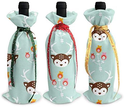 ワインバッグ クリスマスボトルカバー エルク シャンパンワインボトル3本用 12 X 34cm ワイン収納 3個ーテーマ ボトル装飾 ワインボトル用 かわいいドレス 3種類のデザイン ギフトバッグ 保管用 ギフトパッケージ