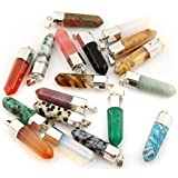 Assorted 24pcs Gemstone Healing Pointed Chakra Beads Pendants Point Bullet Shape Semi-Precious Quartz Crystal...