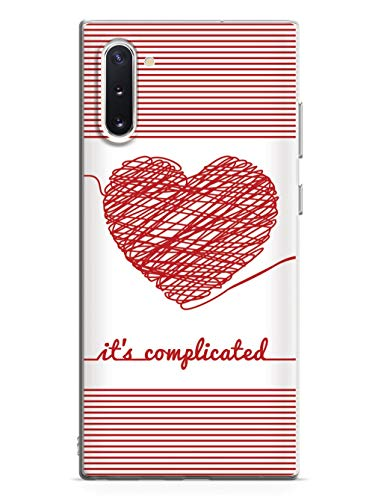 Inspired Cases - 3D Textured Galaxy Note 10 Case - Rubber Bumper Cover - Protective Phone Case for Samsung Galaxy Note 10 - Chaos Doodle Heart - It's Complicated - White
