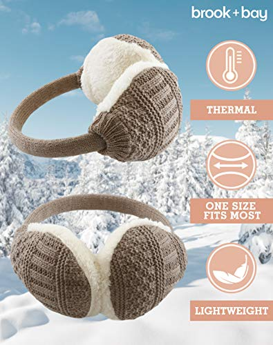 Ear Muffs for Women - Winter Ear Warmers - Soft & Warm Cable Knit Furry Fleece Earmuffs - Ear Covers for Cold Weather