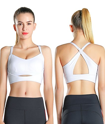 Exerin Women's High Impact Back Criss Cross X Style Workout Full Figure Wirefree Running Yoga Sports Bra(US M/Tag L, White)