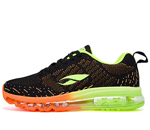 Uminder Men's Air Running Shoes 2016 Max Flyknit Sport Walking Fashion Sneakers Black Orange