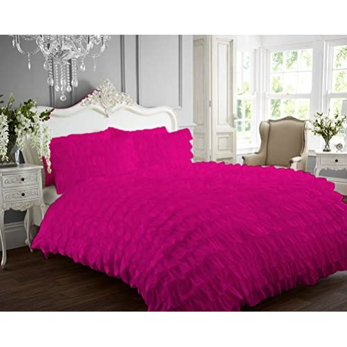 Wholesale Kotton Culture 1000 Thread Count Luxurious 100% Egyptian Cotton Ruffle Duvet Cover (Ruffle Duvet Cover with Zipper Closure) Solid By (Hot Pink, Queen)