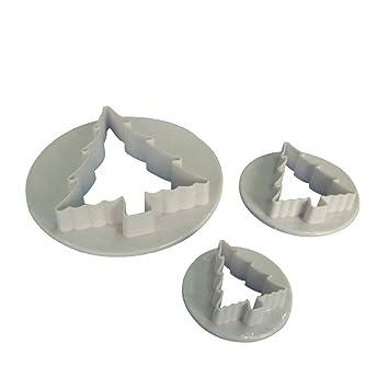 Four Juego de moldes de plástico para Cortar Galletas en Forma de árbol de Navidad, 3 Unidades: Amazon.es: Hogar