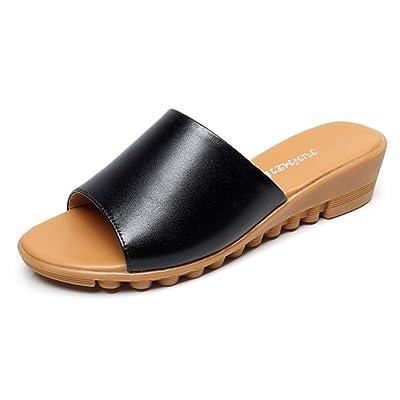 c565e61b8462c4 Easemax Femme Confortable Chaussures de Plage Talon Compensé Mules ...