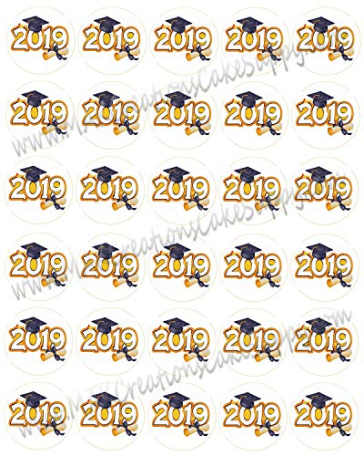 (2019 Tradiational Graduation Edible Mini Cupcake/Sandwich Cookie Toppers 1 1/2
