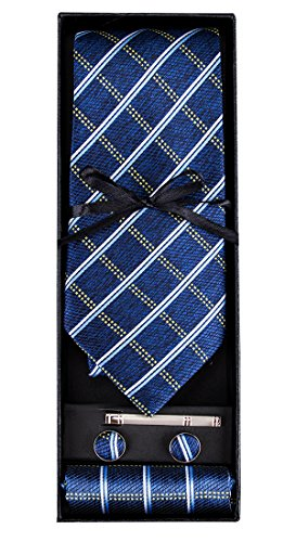 DiBanGu Men's Silk Tie Blue Plaid Tie Pocket Square Cufflink Tie Clip Set - Pocket Square Plaid