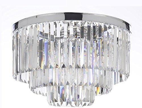 Palladium Empress Crystal tm Glass Fringe 3-Tier Flush Chandelier Chandeliers Lighting Chrome Finish H 17.5 W 19.75