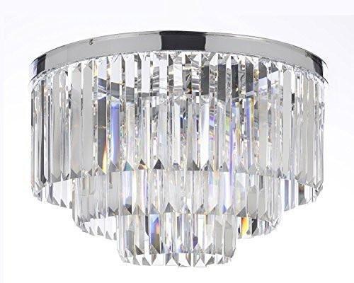 Palladium Empress Crystal (tm) Glass Fringe 3-Tier Flush Chandelier Light Chrome Finish H 17.5
