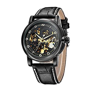 Carrie Hughes Men's Steampunk Skeleton Mechanical Stainless Steel Automatic Watch Leather Black CH25