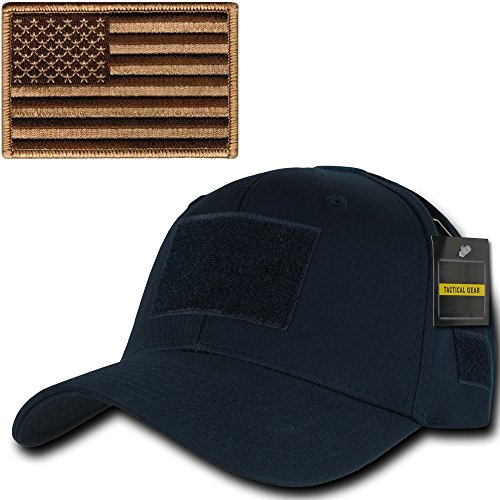 Ultimate Arms Gear Tactical Military Navy Blue Operator Hat Cap Ballcap Headwear Adjustable Hook & Loop with 6 Velcro Attachment Points and Padded Sweatband + Coyote Tan USA American Flag (Padded Sweatband)