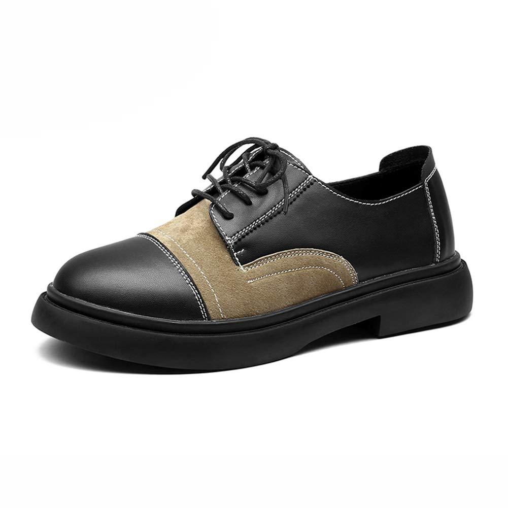 Damenschuhe HWF HWF HWF Herbst Britischen Stil Lederschuhe Freizeitschuhe College Style Einzelne Schuhe (Farbe   schwarz Khaki größe   39) 47beff