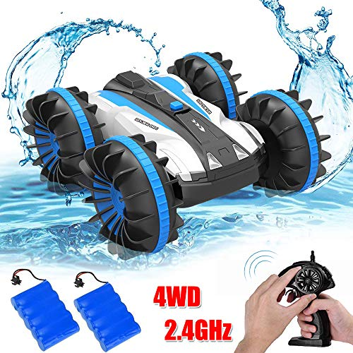 Ansee Rc Cars for Kids Amphibious Car Off Road Radio Controlled Cars 2.4GHz 4WD 6CH High Speed Rechargeable 360 Degree Rotating RC Vehicles (Amphibious Car Blue)
