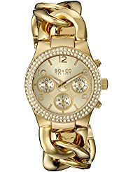 SO&CO New York Womens 5013A.2 SoHo Quartz Crystal Accent Multifunction 23K Gold-Tone Chain Link Bracelet Watch