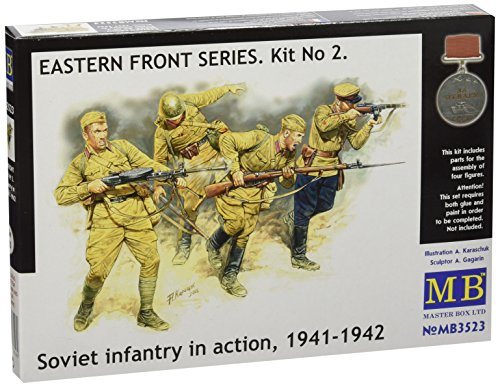 - Master Box Soviet Infantry in Action Eastern Front 1941-42 (4) Figure Model Building Kits (1:35 Scale)