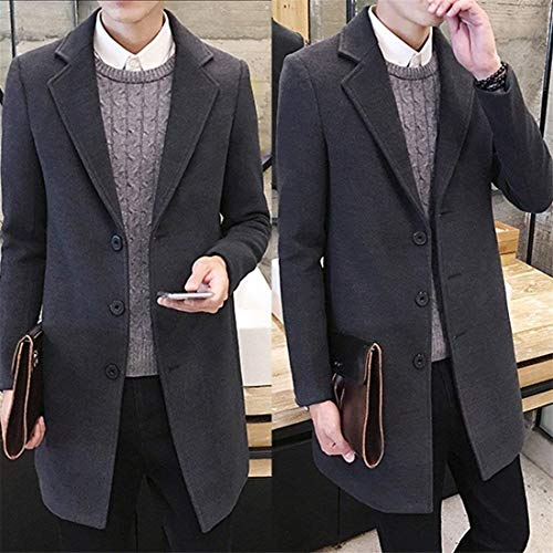 Men's Breasted Parka Single Nonn Autumn Apparel Men's Sleeve Slim Wool Coat Jacket Long Formal Elegant Figuring Solid Windbreaker Grau Winter Outwear Long Huixin Loose Ntel Friendgg qwtnc8qvR