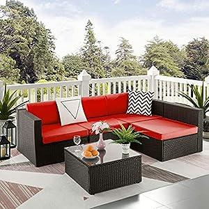 MengFeiNi 5 Pcs Patio PE Rattan Furniture Sofa Set Red