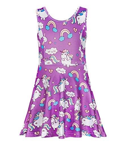 (Girls Unicorn Dress Soft Purple Summer Casual Party Dresses for Girls 6)
