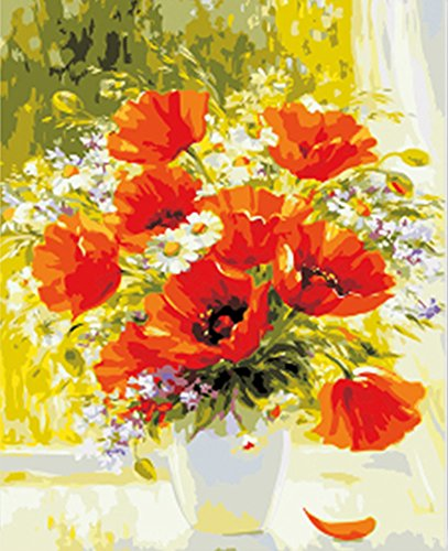Wowdecor Paint by Numbers Kits for Adults Kids, DIY Number Painting - Beautiful Red Poppy Flowers in The Vase 40 x 50 cm - New Stamped Canvas (Framed)