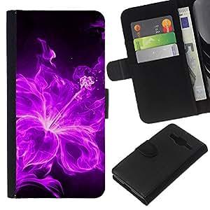 KLONGSHOP // Tirón de la caja Cartera de cuero con ranuras para tarjetas - Fuego Violeta Negro floral flor del pétalo - Samsung Galaxy Core Prime //