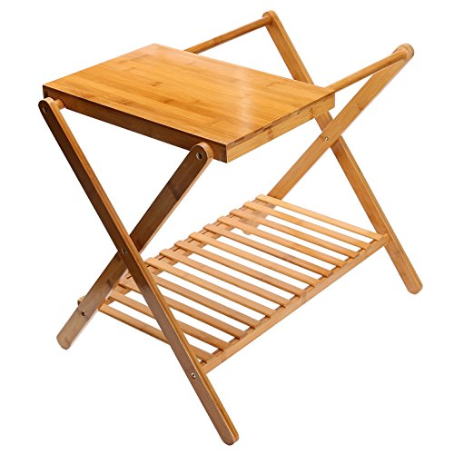 C&AHOME Bamboo Multifunction Foldable Luggage Rack With a