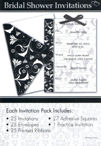 Celebration Black and White Bridal Shower Invitation Set, 5 x 7-Inches, 25 Invitations and Cards per Set (1596)