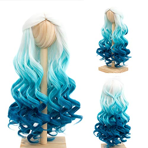 MUZI WIG High Temperature Doll Hair Wig, Long Winky Curly White Ombre Blue Synthetic Fiber Hair Wig BJD Doll Wigs for 1/3 BJD SD Doll