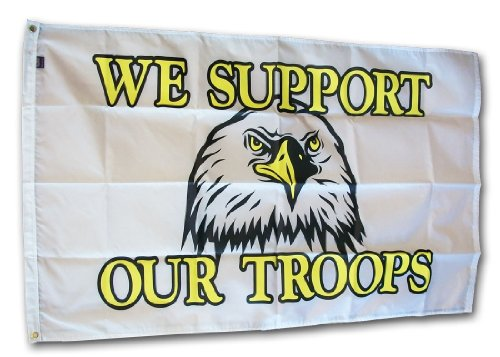 Support Our Troops - 3' x 5' We Support Our Troops/Eagle fla