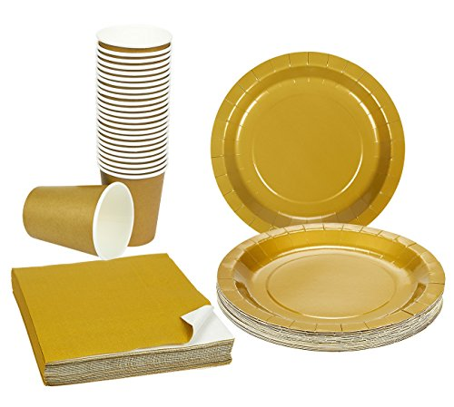 Disposable-Dinnerware-Set-Serves-24-Gold-Party-Supplies-Includes-Paper-Plates-Napkins-Cups-Gold