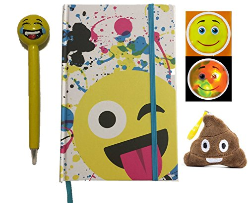 Emoji Sticker and Notebook Back to School Set (Includes an Emoji Journal, Emoji Pen, Emoji Sticker and Emoji Plush Pillow Keychain, Expressions Vary) (Goodie Gumballs)
