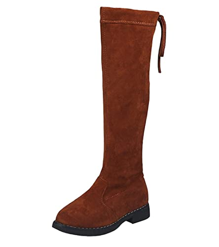 41541a96c4e0 WUIWUIYU Girls  Fashion Zipper Over The Knee High Snow Boots Princess Shoes  Brown Size 1.5