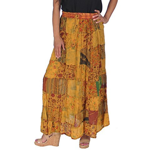 KayJayStyles Women's Hippie Bohemian Gypsy Vintage Ethnic Patchwork Long Skirt (Yellow) ()