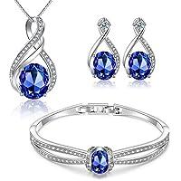 "Menton Ezil ""Enchanted Love Swarovski Necklace Earrings Tennis Bracelet 18K White Gold Plated Wedding Jewelry Set - Gifts He"