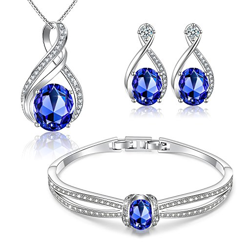 Menton Ezil Charming Nobile Swarovski Jewelry Sets with Sapphire Blue Necklace 18K White Gold Bracelet Earrings for Women