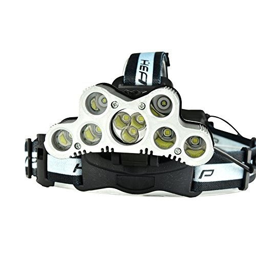 Zehui Headlight CREE XML-T6+CREE XPE Strong Light Headlamp with SOS Help-Calling Whistle USB Rechargeable for Outdoor Activity Hunting Fishing Caving 9 LED (Wiz Headlamp)