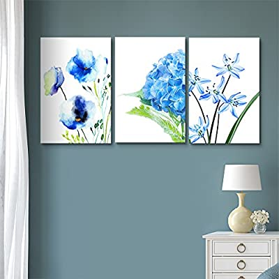 3 Panel Canvas Wall Art - Blue Flowers - Giclee Print Gallery Wrap Modern Home Art Ready to Hang - 16
