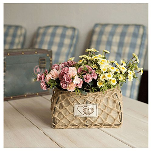 Motina Hemp Basket Flower Holder Handmade Vintage Metel Basket Storage Organizer Home Decor for Flower (Long)