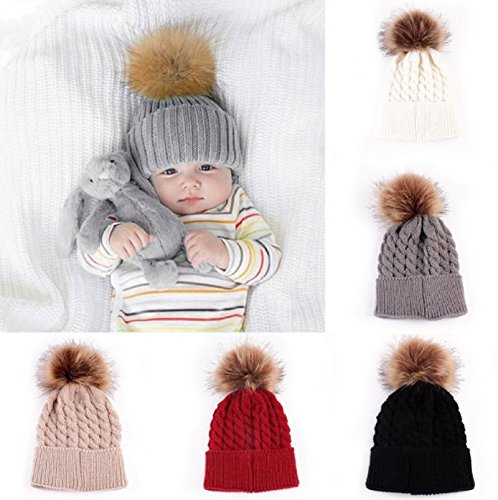 Hot Sale! 5 Color Baby Toddler Girls Boys Warm Winter Knit Beanie Fur Pom Hat Crochet Ski Ball Cap (Wine Red)